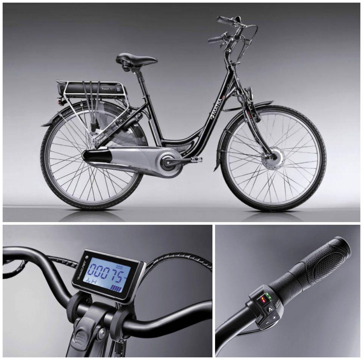 Parmi sa gamme, Matra propose son TX AGT, un vélo de ville qui intègre son moteur électrique dans la roue avant. La batterie amovible doit être chargée 7 heures pour une autonomie moyenne de 65 km.