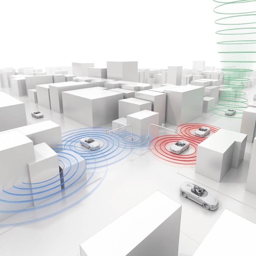 Parmi les axes de travail des constructeurs et équipementiers automobiles, la communication entre les véhicules et les infrastructures constitue un élément central, comme le souligne cette illustration Audi.