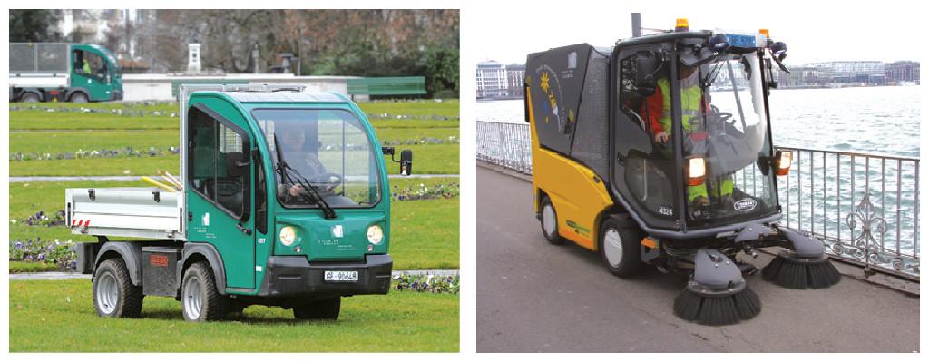 Parmi les motorisations alternatives, une cinquantaine de véhicules électriques ont rejoint la flotte de la ville de Genève, notamment des transporteurs qui circulent dans les parcs et cimetières, mais aussi des balayeuses.