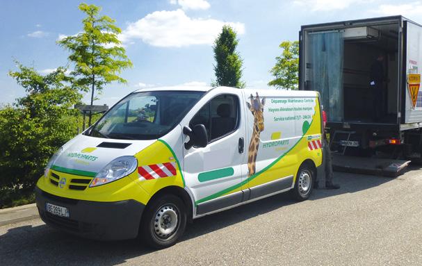 Pour entretenir, contrôler et réparer les hayons élévateurs, Hydroparts Assistance s'appuie sur un réseau de franchisés. Une quarantaine de véhicules, des ateliers mobiles, arborent la girafe distinctive de l'enseigne.