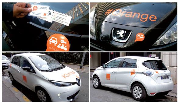 Dans sa démarche de développement durable, Orange mise notamment sur l'auto-partage, un mode de fonctionnement qui passe aussi par des véhicules électriques, Renault Zoé, Kangoo Z.E., Nissan Leaf et e-NV200.