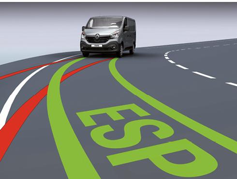 Le dernier Trafic de Renault comprend notamment l'ESP, l'Extended Grip (motricité améliorée sur les sols instables), le miroir Wide View (anti angle mort), l'aide au démarrage en côte ou le système anti-louvoiement de la remorque.