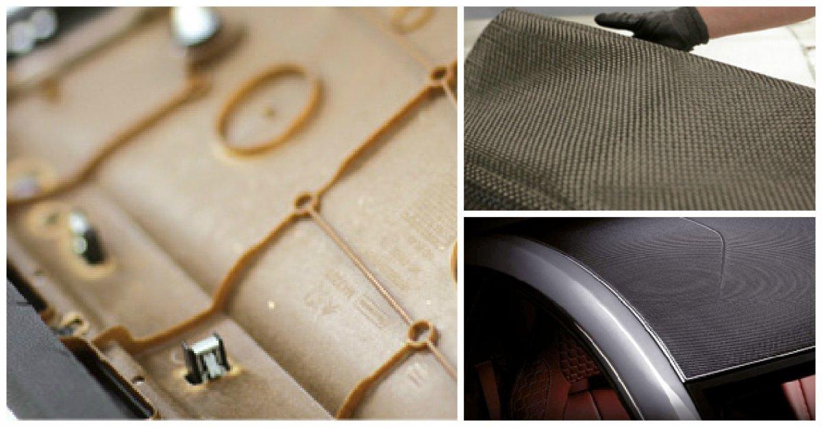 Le NAFILean Faurecia (ci-dessus) est notamment utilisé dans les panneaux de porte de la 308 ; il se compose à 20 % de fibre de chanvre. Empruntées aussi à Faurecia, les deux autres photos montrent un tissu et un toit en fibre de carbone.