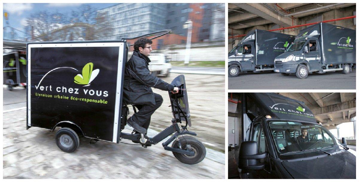 Filiale de livraison urbaine du groupe Labatut, Vert chez Vous recourt à des triporteurs électriques pour des poids jusqu'à 80 à 150 kg, soit 1 à 1,5 m3. Pour des demi-palettes, ce sont les véhicules de 20 m3, donc GNV, qui s'imposent.