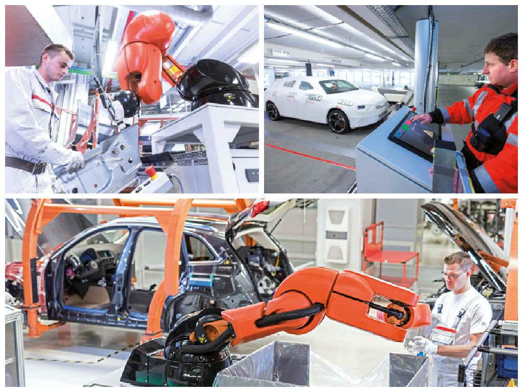 Audi mise sur la coopération entre robots et humains, notamment pour améliorer l'ergonomie du travail des seconds, leur éviter de se déplacer sur de longues distances ou de se pencher de manière répétée.