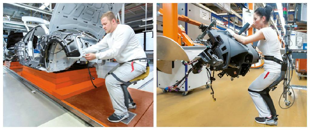Chez Audi, le robot « chairless chair » permet aux employés une position semi assise qui les soutient de façon à ne pas se fatiguer. Ils entrent ainsi dans les véhicules et y travaillent de manière plus fluide et confortable.