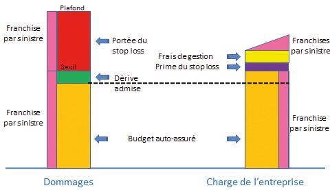 Le schéma ci-dessus montre l'assurance (en rouge) intervenant au-delà du seuil du stop loss (à gauche), tandis l'entreprise (à droite) supporte le montant du budget d'auto-assurance, les franchises par sinistre et la cotisation du stop loss.