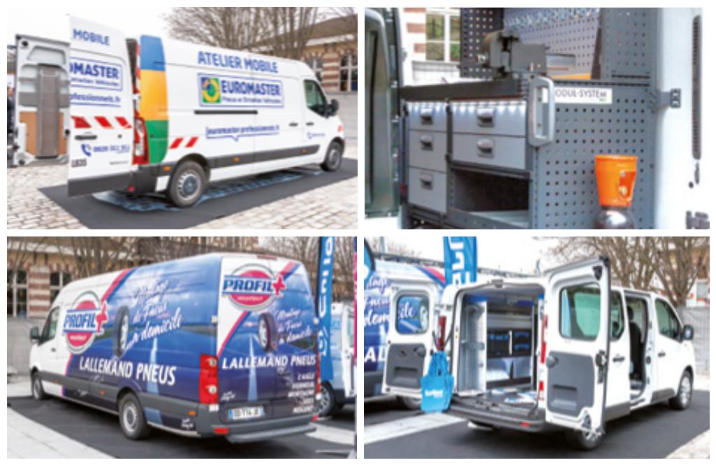 Renault Master d'Euromaster ou de Modul-System, Renault Trafic de Sortimo ou Volkswagen Crafter de Profil+ : quatre ateliers mobiles ont mis en valeur les apports de l'aménagement ou de l'équipement des VUL