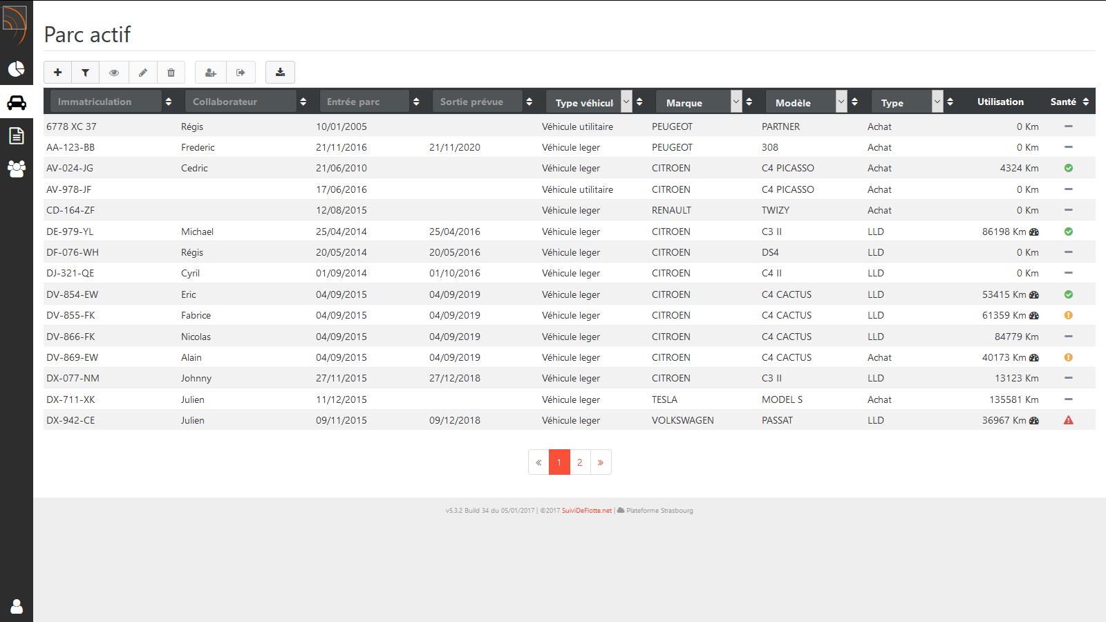 SuiviDeFlotte - Module de gestion de parc : liste véhicules