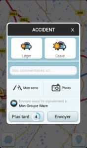 Waze Signalement accident