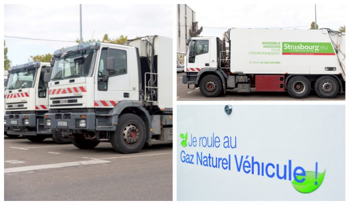Sur les 300 poids lourds de l'Eurométropole de Strasbourg, seize fonctionnent au gaz naturel, les autres au diesel. Strasbourg a d'ailleurs commandé en 2016 quatre bennes à ordures au gaz, et prévoit d'en acheter cinq autres cette année.