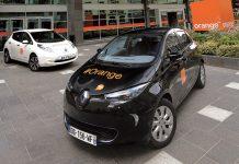 Orange propose des véhicules électriques en autopartage (Zoé et Leaf en photo). L'opérateur dispose notamment de 250 véhicules de société électriques et vise les 5 000 modèles électriques de ce type d'ici cinq ans.