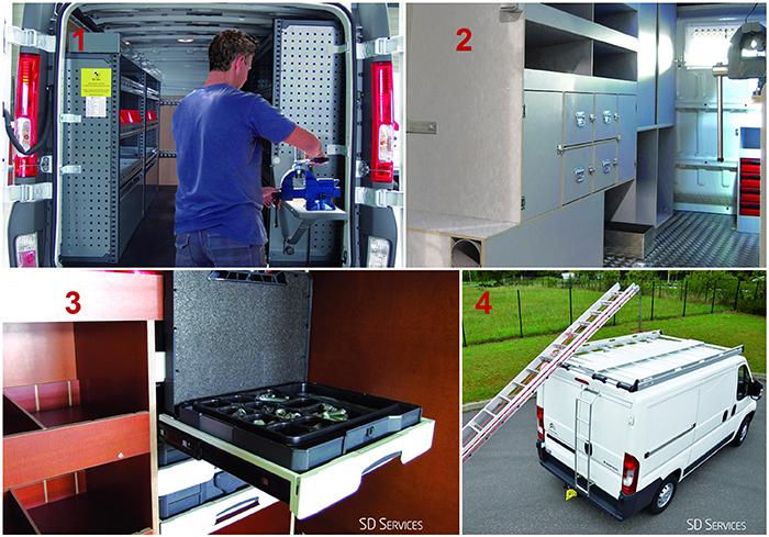 1. SD Services – Aménagement métal V.SYS 2. SD Services – Aménagement contreplaqué Woodsys 3. SD Services – Accessoires Systainer 4. SD Services – Galerie aluminium