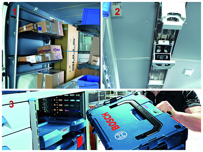 1. Sortimo - FlexRack<br /> 2. Sortimo - Lift à échelle<br /> 3. Sortimo - Station de charge Bosch
