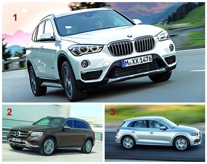 Segment SUV premium - Le podium 1. BMW X1 2. Mercedes GLC 3. Audi Q5