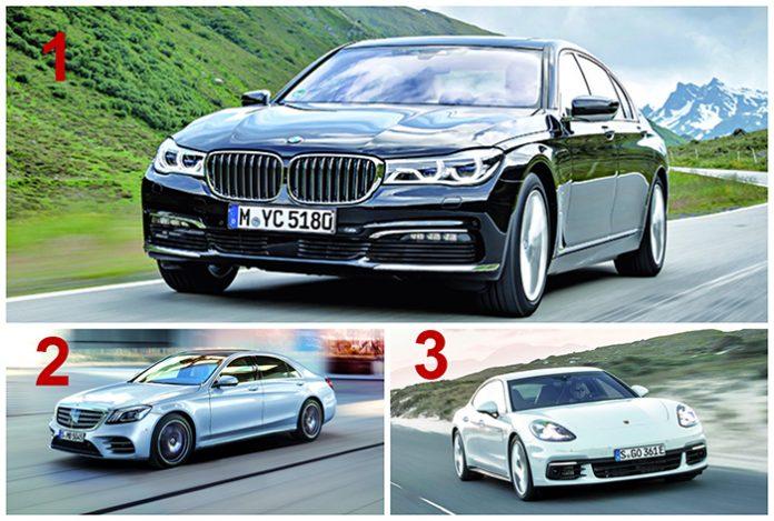 Haut de gamme segment H2 - Le podium 1. BMW Série 7 / 2. Mercedes Classe S / 3. Porsche Panamera