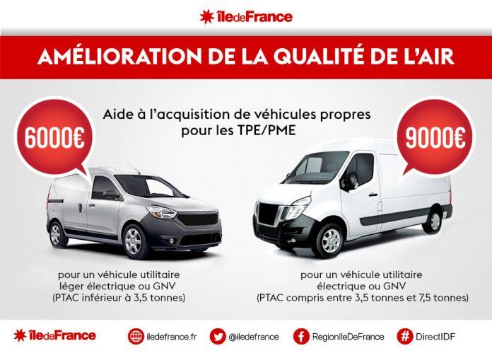 Île-de-France : aide TPE-PME pour acheter ou louer un VU électrique ou GNV