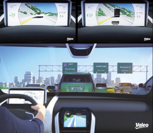 Le système de caméras interconnectées XtraVue de Valeo connecte le flux vidéo du véhicule à ceux des autres véhicules et des infrastructures routières via le réseau 4G. Il restitue une vue simplifiée de l'environnement, sans les obstacles obstruant le champ de vision.