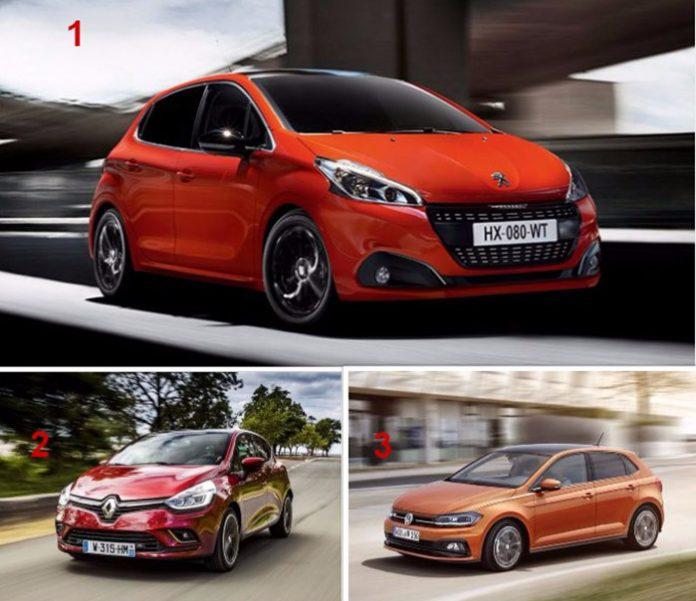 TPE-PME Véhicules de société - Podium de la rédaction : 1. Peugeot 208 / 2. Renault Clio / 3. Volkswagen Polo