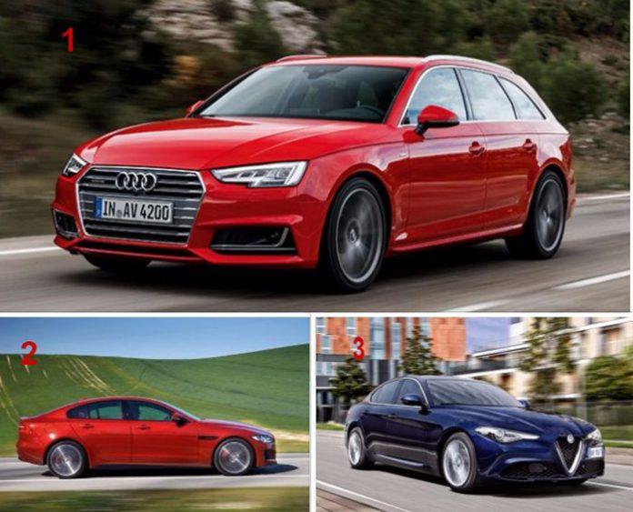 TPE-PME Haut de gamme - Podium de la rédaction : 1. Audi A4 Avant / 2. Jaguar XE / 3. Alfa Romeo Giulia