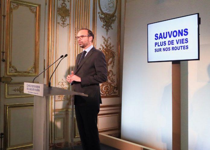 Le premier ministre Edouard Philippe lors du Comite interministeriel sécurité routière du 9 janvier 2018