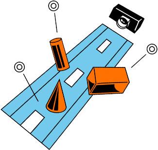 La caméra détecte l'environnement et transmet les informations au contrôleur.