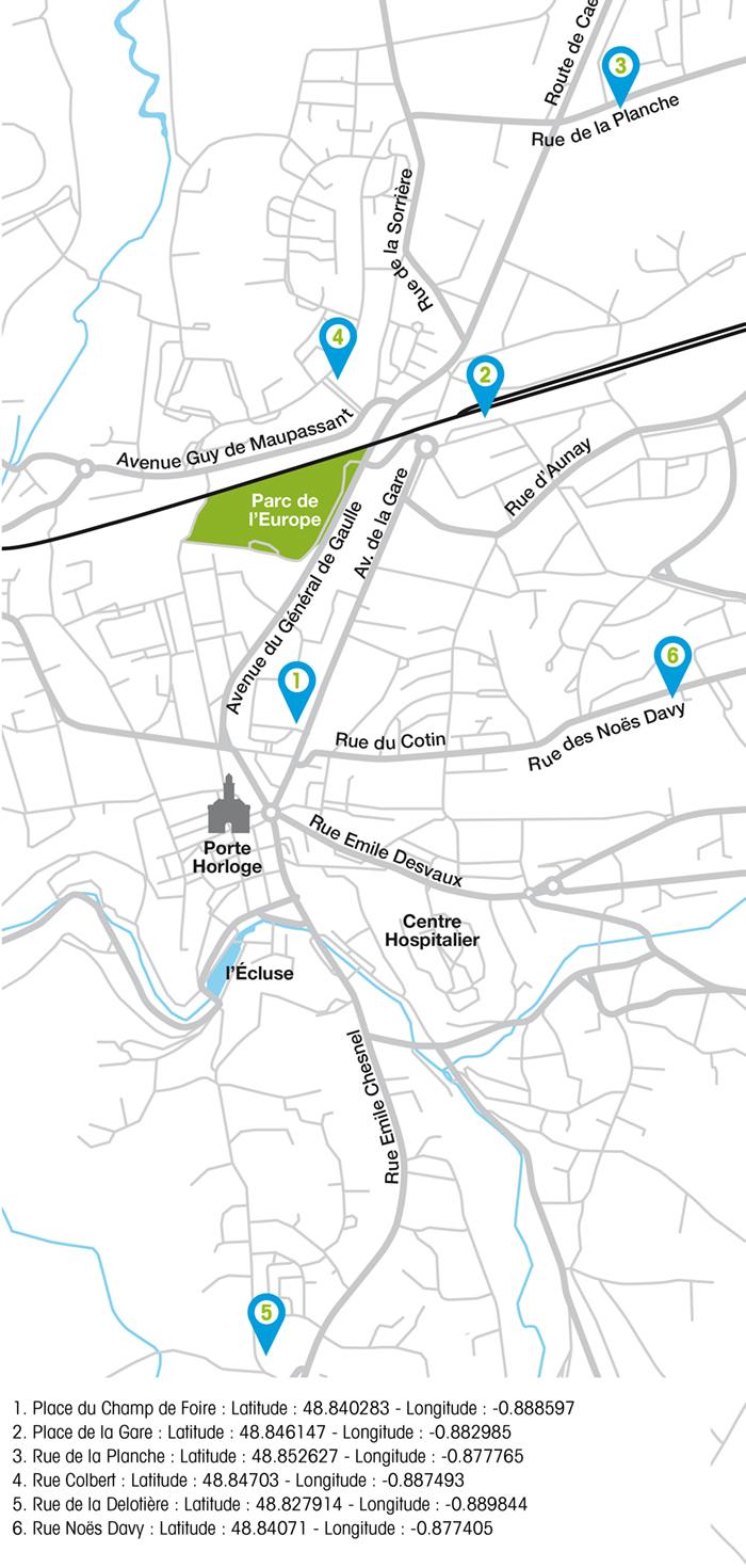 Ecomobil Vire Normandie plan des stations