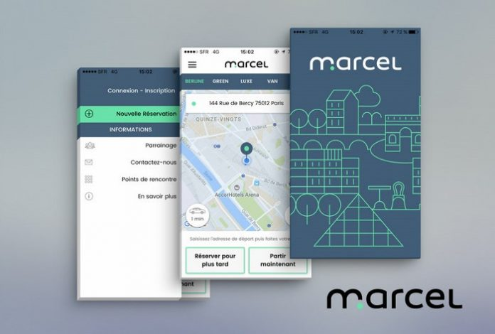 La start-up parisienne Marcel commercialise plateforme de réservation de voitures avec chauffeurs privés VTC en Île-de-France.