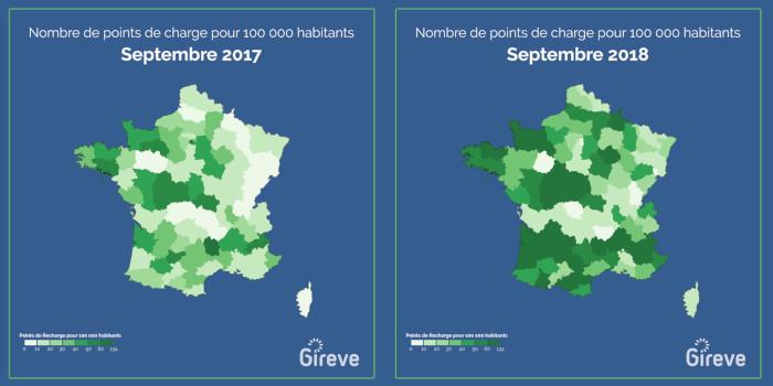 23 000 bornes de recharge en France en septembre 2018
