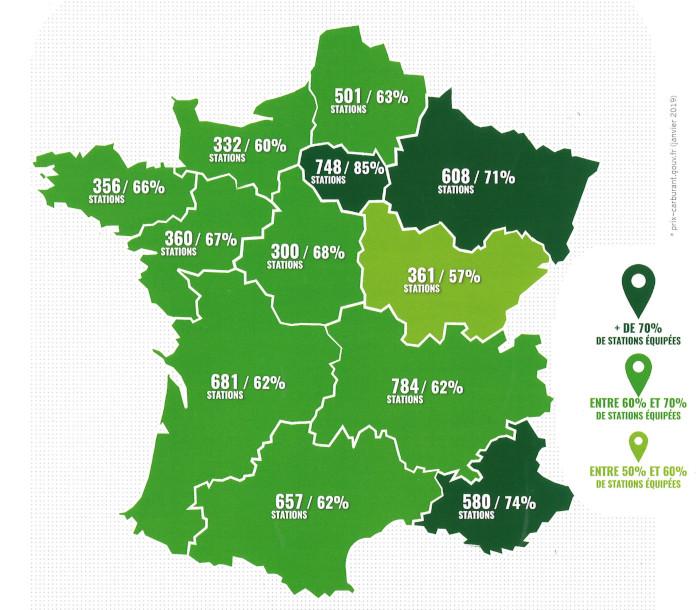 Bioéthanol : nombre de stations-service distribuant de l'E10 en France