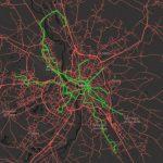 Cocoiturage interentreprises : carte du réseau Karos (en rouge) complémentaire des lignes de métro, tram et BHNS de Tisséo (en vert)