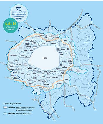 Carte de la ZFE du Grand Paris