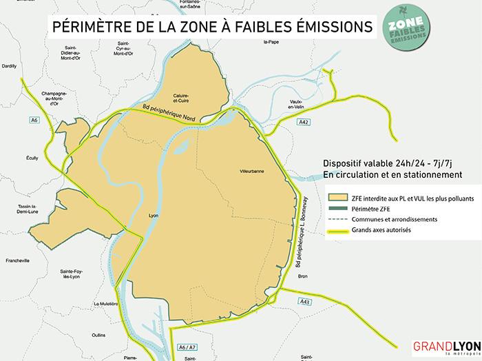 Le périmètre de la ZFE du Grand Lyon