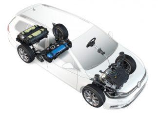 Volkswagen a amélioré le moteur de sa Golf Variant TGI alimentée au gaz naturel véhicule (GNV), notamment grâce au cycle de Miller ainsi qu'à des turbo-compresseurs à géométrie variable de turbine. Source : Volkswagen