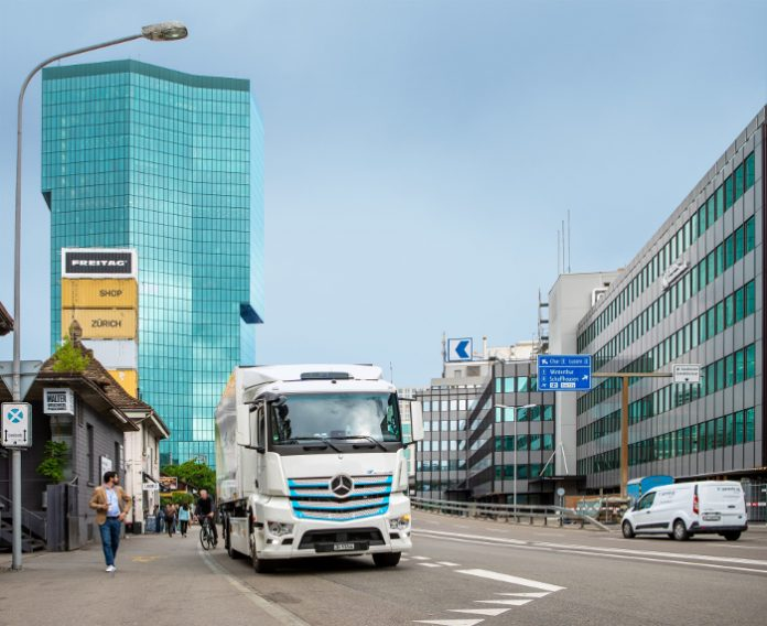 Camion Transport Migros eActros
