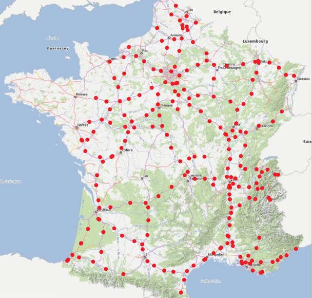 Carte des futures stations sur les autoroutes concédées