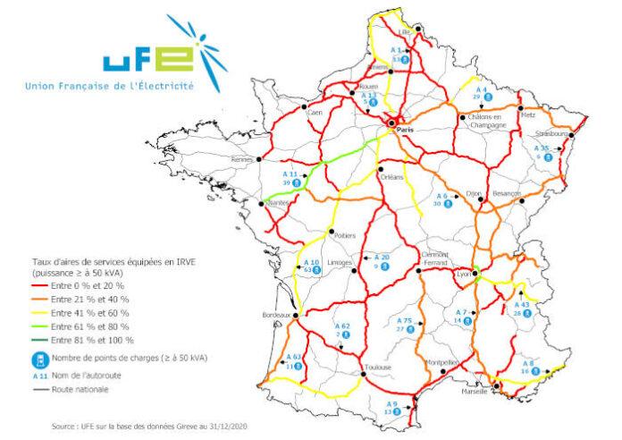 Carte bornes de recharge rapide autoroutes