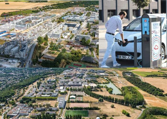 Électrification des flottes - Depuis début 2019, 60 bornes de recharge doubles semi-accélérées (7 à 22 kWh) ont été installées en voirie sur des espaces publics et des terrains privatifs de l'établissement public d'aménagement (EPA) de Paris-Saclay (91).
