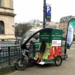 Triporteur électrique de la start-up mon-marché.fr devant le hub logistique d'Indigo