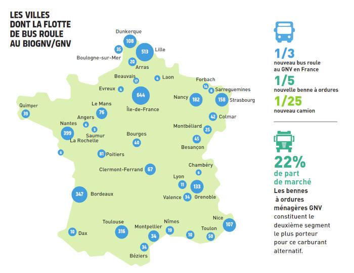 Villes dont la flotte de bus roule au GNV